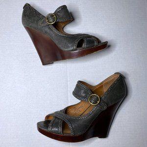 Frye 7.5 M Gretta Criss Cross Leather Wedge Heels